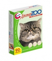 Доктор ЗОО  д/кошек  Биотин со вкусом печени  90 шт