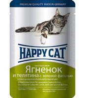 Happy Cat с ягненком, теленком и зеленой фасолью в желе 100 г