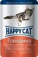 Happy Cat с говядиной, печенью и горохом в желе 100 г