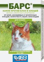 Барс капли для кошек против блох и клещей 1 мл  3 шт.